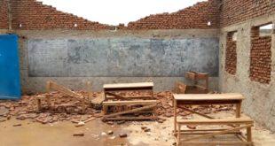 Une des salles de classe de l'Ecofo Nyabunyegeri emportéé
